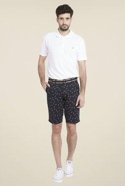 Globus Navy Knee Length Printed Shorts