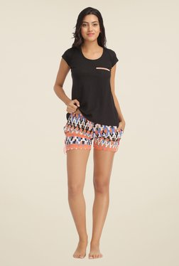 Clovia Black & Multicolor Striped Short Set