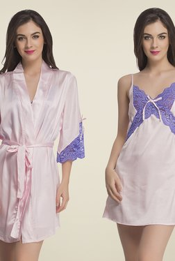 Clovia Pink Lace Nighty With Robe