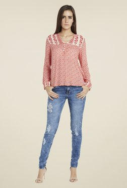Globus Red Floral Print Full Sleeves Top
