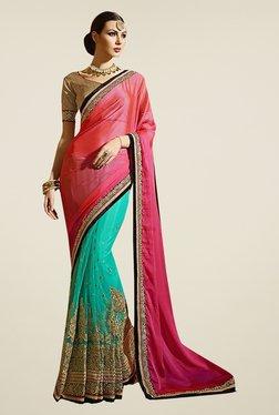 Ishin Blue & Pink Net & Chiffon Saree