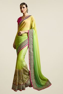 Ishin Green & Yellow Net & Chiffon Embroidered Saree