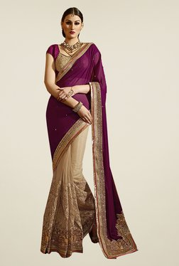 Ishin Beige & Purple Faux Georgette & Net Embroidered Saree