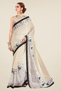 Ishin Beige Poly Silk Printed Saree