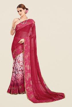 Ishin Red Georgette & Chiffon Floral Print Saree