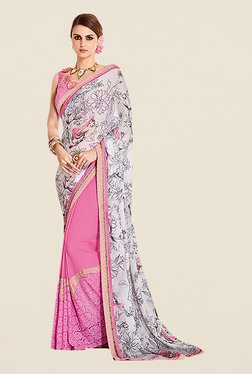 Ishin Pink & White Poly Silk Printed Saree
