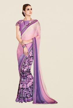 Ishin Purple Satin & Georgette Printed Saree