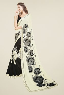 Ishin Black & White Faux Georgette Floral Print Saree
