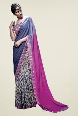 Ishin Blue & Pink Faux Georgette Half & Half Printed Saree