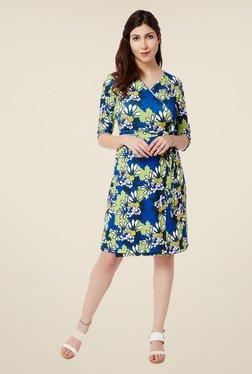 Avirate Blue Floral Print Wrap Dress