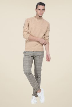 Basics Beige Solid Sweatshirt