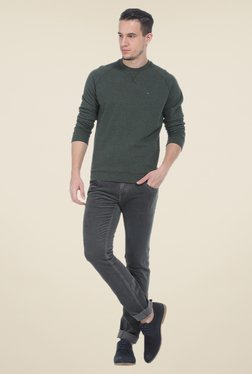 Basics Green Solid Sweatshirt