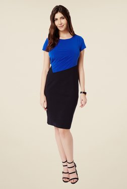 Avirate Black & Blue Sheath Dress