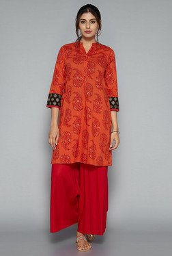 Utsa By Westside Orange Paisley Print Kurta