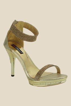 Get Glamr Yashura Antique Gold Ethnic Sandals