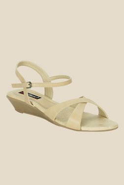 Get Glamr Gracias Beige Ankle Strap Wedges