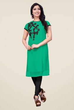 Occeanus Green Embroidered Short Sleeve Kurta