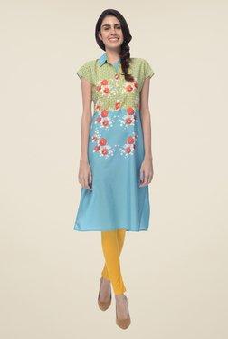 Desi Belle Turquoise Floral Print Kurta