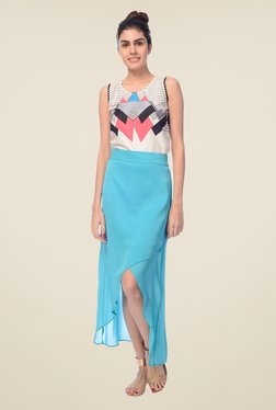 Desi Belle Turquoise Solid Skirt