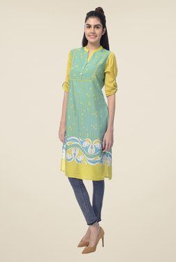 Desi Belle Green Printed Kurta