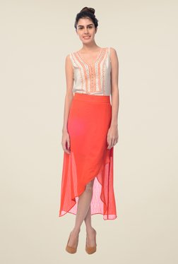 Desi Belle Coral Solid Skirt