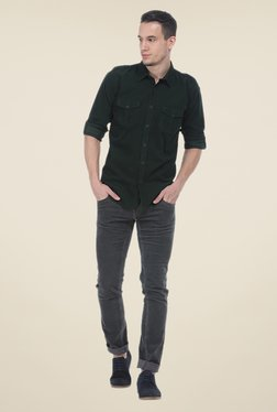 Basics Green Solid Slim Fit Cotton Shirt