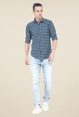 Basics Blue Checks Cotton Full Sleeve Slim Fit Shirt