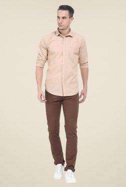 Basics Beige Solid Slim Fit Shirt