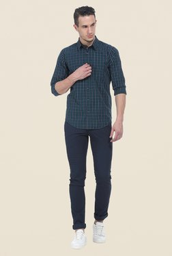 Basics Navy Slim Fit Full Sleeve Cotton Shirt