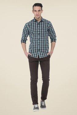 Basics Green Checks Slim Fit Shirt