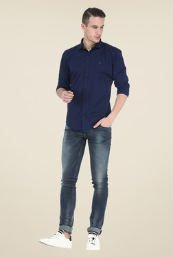 Basics Navy Solid Full Sleeve Shirt