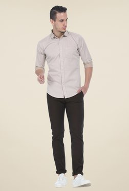Basics Beige Solid Full Sleeve Shirt