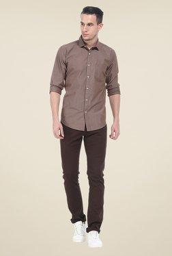 Basics Brown Solid Slim Fit Shirt