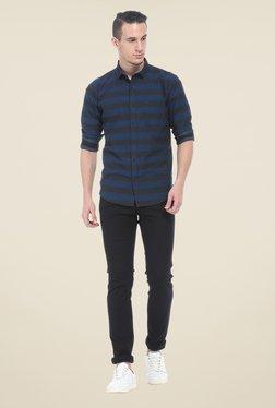 Basics Navy Striped Slim Fit Shirt