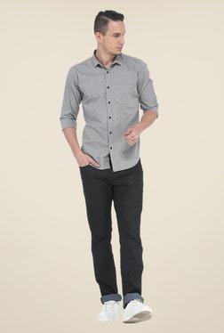 Basics Grey Printed Slim Fit Shirt