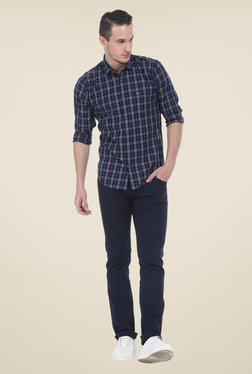 Basics Navy Checks Full Sleeve Cotton Shirt