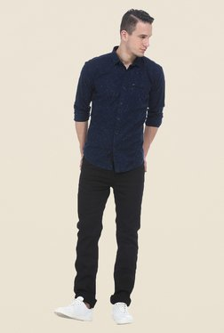 Basics Navy Printed Full Sleeve Shirt