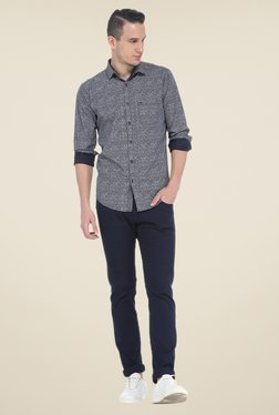 Basics Navy Printed Full Sleeve Cotton Shirt