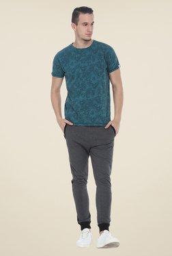 Basics Green Floral Print Crew Crew T Shirt