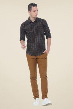 Basics Khaki Solid Elastane Skinny Fit Chinos