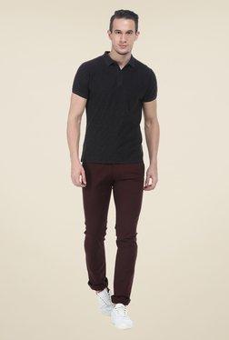 Basics Maroon Solid Elastane Skinny Fit Chinos