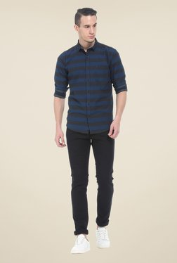 Basics Black Solid Elastane Skinny Fit Chinos