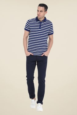 Basics Navy Solid Elastane Skinny Fit Chinos