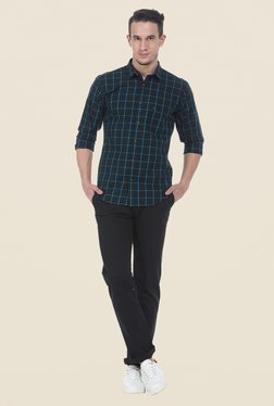 Basics Black Solid Herringbone Chinos