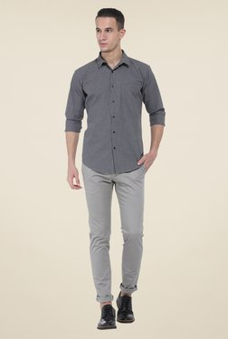 Basics Grey Solid Elastane Tapered Fit Chinos - Mp000000000526824