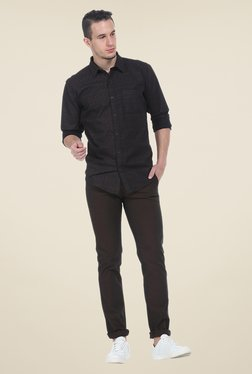 Basics Brown Solid Elastane Tapered Fit Chinos - Mp000000000526871