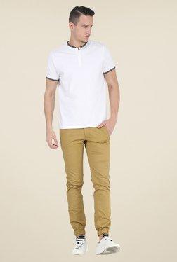 Basics Khaki Solid Elastane Tapered Fit Joggers