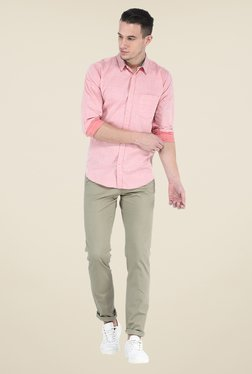 Basics Pink Solid Slim Fit Shirt