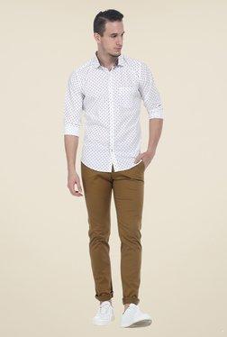 Basics Khaki Solid Elastane Tapered Fit Chinos