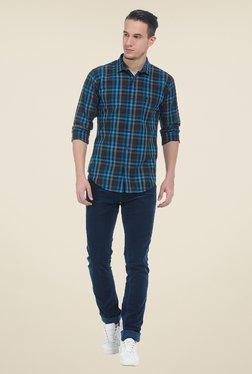 Basics Blue Solid Elastane Skinny Fit Chinos